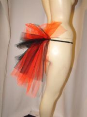 Short Mini Black & Red Net Bustle